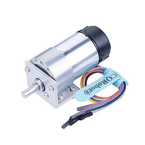 CQRobot Ocean: 306:1 Metal DC Geared-Down Motor 37Dx75L mm 6V/12V, with 64 CPR Encoder and Bracket. 6V-3W-17RPM-45 kg.cm(607 oz.in), 12V-6W-35RPM-70 kg.cm(973 oz.in), D-shaped Output Shaft 16mm.