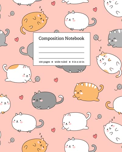 Kawaii Cute Cat Composition Notebook: Wide Ruled Soft Cover Notebook for Back to School