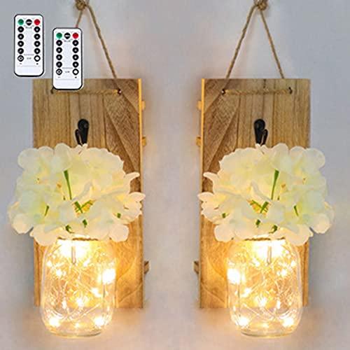 Sunydog 2PCS Frascos de vidrio colgantes Luces LED de hadas Iluminación del hogar para colgar en la pared Luces decorativas de interior con pilas para el hogar Dormitorio Fiesta Decoraciones navideñas