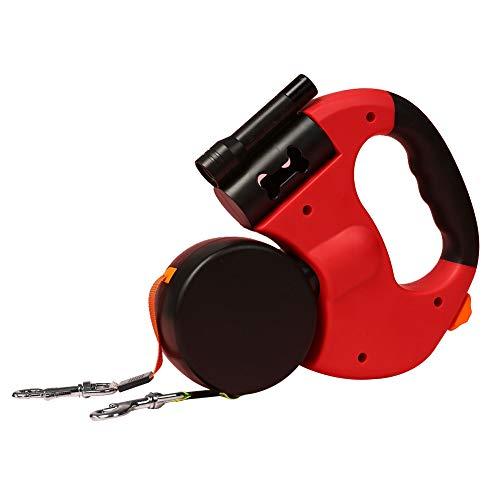 Doppelleine fur Zwei Hunde, Asduaro Einziehbare Haustier-Hundeleine Roll-Leine mit Taschenlampe und Müllsack Bungee Leine Teleskop Zugseil Gürtel Länge 3 m Rot