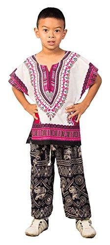 Lofbaz Niños Tradicional de impresión de África Camisa Dashiki Rosado Unisex - 11-12 años
