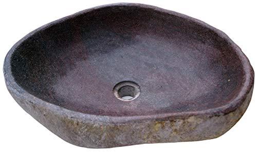 Guru-Shop Massives Flußstein Aufsatz-Waschbecken, Waschschale, Naturstein Handwaschbecken ca. 45 cm - Modell 2, Grau, Waschtische, Waschbecken & Badewannen