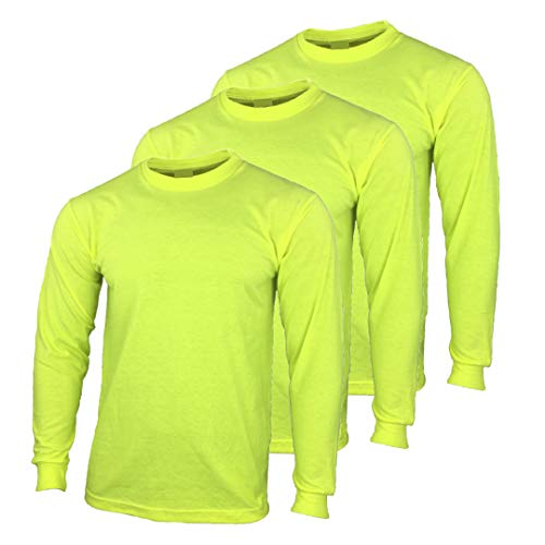 Safety High Visibility Long Sleeve Construction Work Shirts Pack for Men (Safety Yellow (3pk), Large)