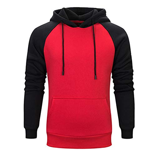 Men Pullover Men Hoodie Long Sleeve Comfortable Elegant Teen Men Men Sweatshirt Autumn New Kangaroo Pocket Drawstring Outdoor Sports Men Sweatshirt Men's Tops Red L