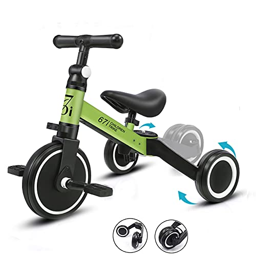 67i Tricycles for 2 Year Olds Toddler Tricycle 3 in 1 Tricycles Kids Trikes for Toddler Bike 3 Wheel Convert 2 Wheel with Removable Pedal and Adjustable Seat for 1-3 Years (Green)