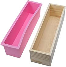 42oz Flexible Rectangular Soap Silicone Mold with Wood Box DIY Tool for Soap Cake Making (Pink)