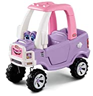 Little Tikes Princess Cozy Truck - Foot to Floor Ride On for Kids with Real Working Horn, Drop-Down ...
