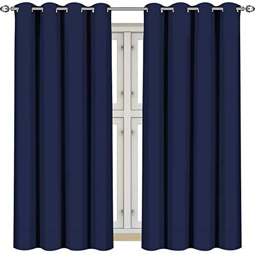 Utopia Bedding [2 Pannelli Tende oscuranti e termoisolanti per finestre/Pannelli/Tende - 8 Occhielli per Pannello - 2 Tirante Incluso (117 x 137 cm, Blu Marino)