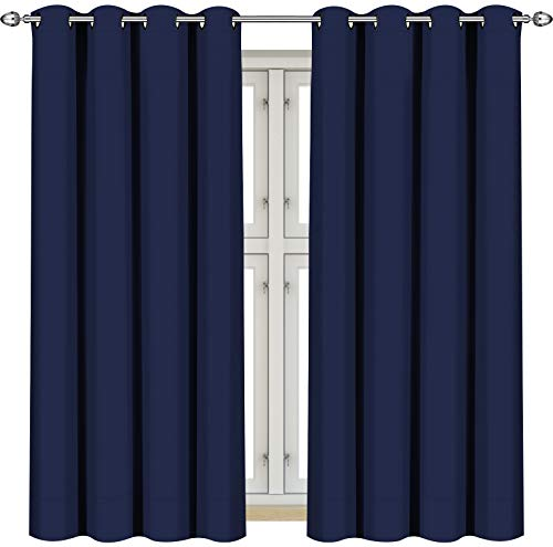 Utopia Bedding Vorhang - 2 Stück - Verdunkelungsvorhang, wärmeisolierende Fenstervorhänge / -verkleidung (Marine, 137 x 117 cm)