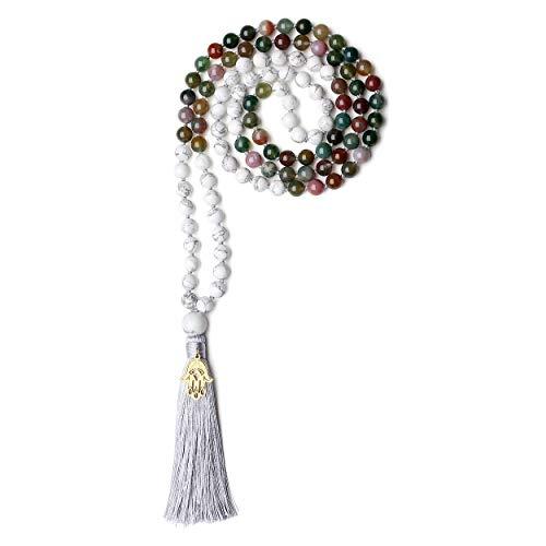 coai Unisex Handgeknüpft 108 Mala Buddhistische Halskette Gebetskette aus Howlith und Indischer Achat mit Quaste und Hamsa Hand Charm