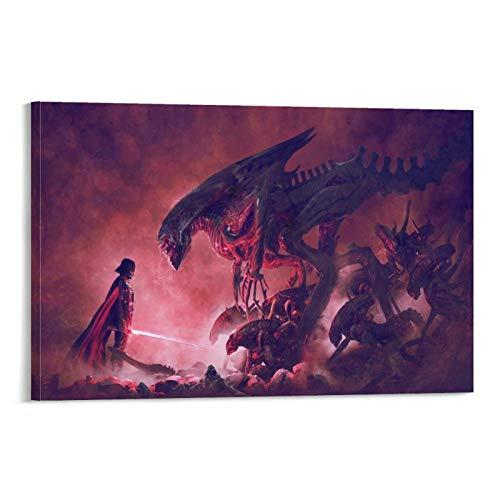 YuFeng Art Inn Modern Wall Poster Art Print Oil Painting on Canvas Home Decor Wall Decoration Canvas Art Aliens Vs Darth Vader Poster (Unframed-No Framed,24×36inch)