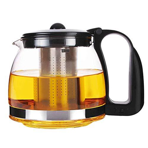 Michelino Glas Teekanne mit Edelstahlsieb, 1250 ml, schwarz