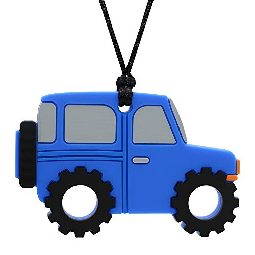 Sensory Chew Necklace for Boys and Girls - Oral Motor Aids Silicone Chewy Pendant Jewelry for Autism ADHD SPD Teething Biting with Special Needs Kids Adults - Jeep Car Chewies Toys (Blue)