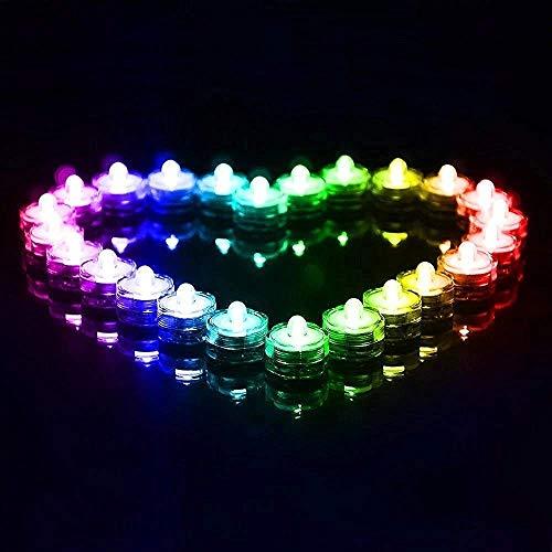 24 Stück LED Teelichter Inklusive Batterien,Wasserdicht Unterwasser LED Kerzen Farbwechsel Flammenlose für Dekoration,Pool, Badewanne, Teich, Hochzeit