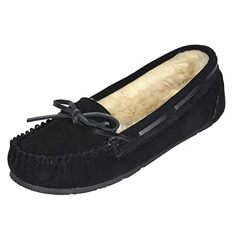 DREAM PAIRS Women's Shozie-01 Faux Fur Cozy House Slippers Suede Leather Moccasin Shoes for Indoor and Outdoor Wear, Black, Size 8