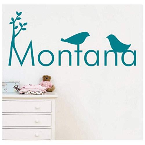 Muursticker Vinyl Muursticker - U Naam Twee Vogels en bomen, Kinderen Behang voor Home Decoratie 25 * 60Cm