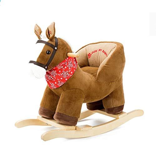 Cheval à bascule pour enfants en bois avec musique petit cheval de Troie chaise à bascule pour enfants jouet pour enfants bambin bascule 1-3 ans peluche tour animal jouet