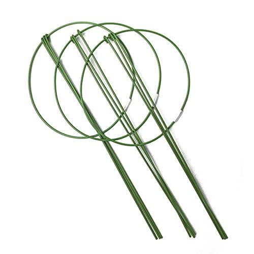 "OKAYOU 3パック11""植物サポートケージ3つの調整可能なサポートリング、蘭、トマト、つる植物野菜の花のためのホームガーデンバルコニーのサポーター"