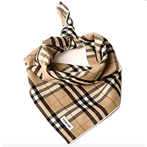 Tartan Plaid Dog Bandana – Dog Scarf Pet Accessories for Dogs, Cats, and Puppies Large Medium Small (Large, Tan)