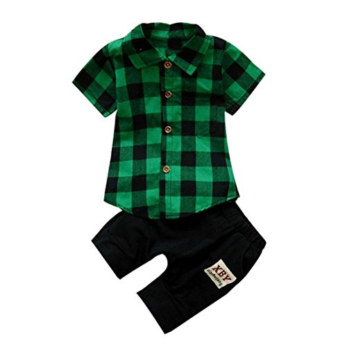 Fossen 2 Piezas/Conjunto Ropa Verano Bebé Niños Camiseta de Plaid y Pantalones Cortos (3 años, Verde)