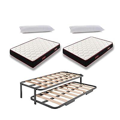 Este pack incluye 2 colchones Memory Fresh 3d + 2 almohadas fibra + cama nido con patas. Sólida estructura de acero con perfil especial. Láminas anchas de madera que aportan firmeza y resistencia. Absorción de la presión sin ruidos gracias a los taco...