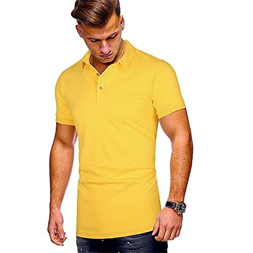 Polo Hombres Básico Color Sólido Slim Fit Hombres Shirt Ocio Verano Transpirable Kent Collar Botón Tapeta Manga Corta Hombres Shirt Escalada Negocios Hombres T-Shirt F-Yellow M