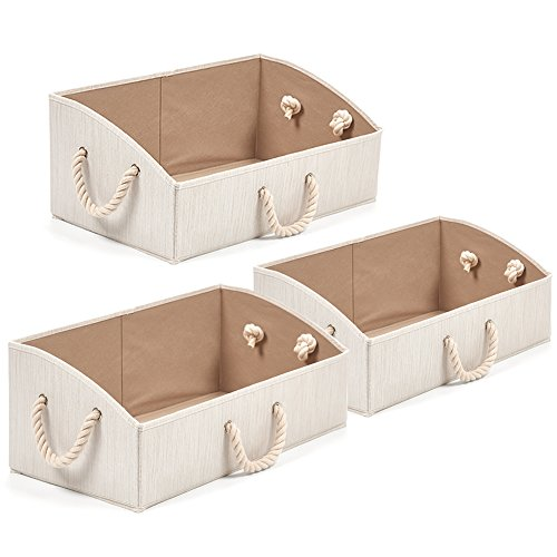 EZOWare Set of 3 Large Storage Bins Foldable Fabric Trapezoid Organizer Boxes with Cotton Rope Handle Collapsible Basket for Shelves Closet Baby Toys Diaper Beige