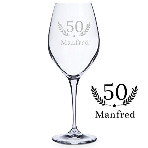 Personello® Weinglas mit Gravur (Motiv Geburtstag), Weißweinglas mit Name und Alter graviert (personalisiert), Geschenk für Männer, Frauen, Geburtstagsgeschenk für Weintrinker (Weißwein)