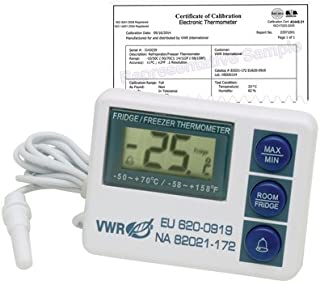 VWR 82021-172 Calibrated Electronic Thermometers with Waterproof Sensor, -50/70°C External Temperature, 10/50°C Internal Temperature (Pack of 1)
