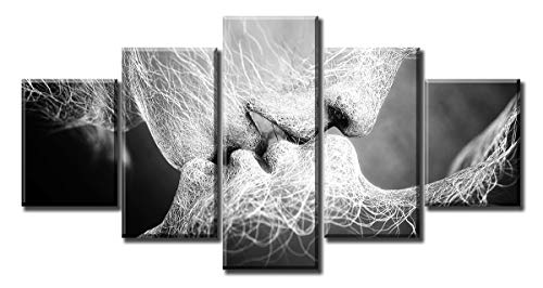 Kissing Wall Art - Romantic Sexy Lovers Kissing - Love Picture Canvas Prints Black and White Artwork Decor for Couple Bedroom Bed Decorations Modern Stretched and Framed Poster Ready to Hang