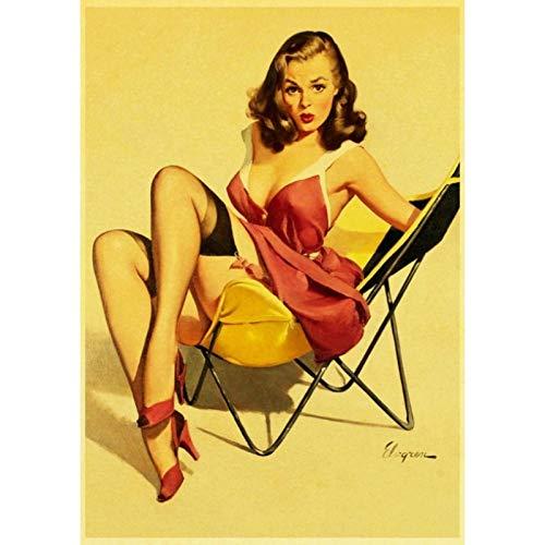 lubenwei Vinatge World War II Sexy Pin up Girl Retro Poster Canvas Paper Printed Sexy Lady Art Posters and Prints Wall sticker Decor 40x60cm No frame (WA-2719)