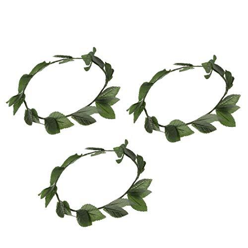 Milageto Paquete de 3 Diademas con Corona de Hojas Verdes de Laurel Y Toga Romana, Gran Accesorio para El Cabello para Disfraz
