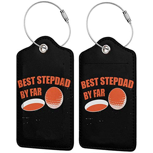 Best Stepdad Golf By Par Leather Luggage Tag Bag Tags Suitcase Tags Identifiers Travel Tags 2 Pcs Set