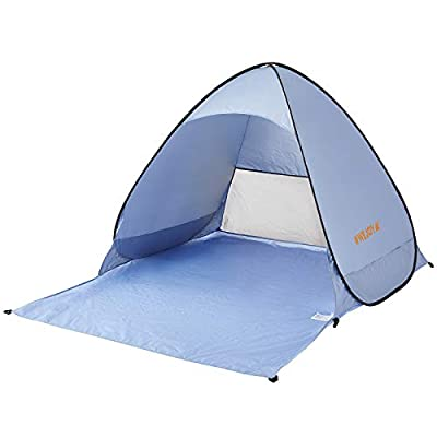 WeJoy Automatic Pop Up Instant Ultra Light Portable Outdoors Quick Cabana Beach Tent Sun Shelter, UPF 50+, 2.6 lbs, LIGHTBLUE, One Size