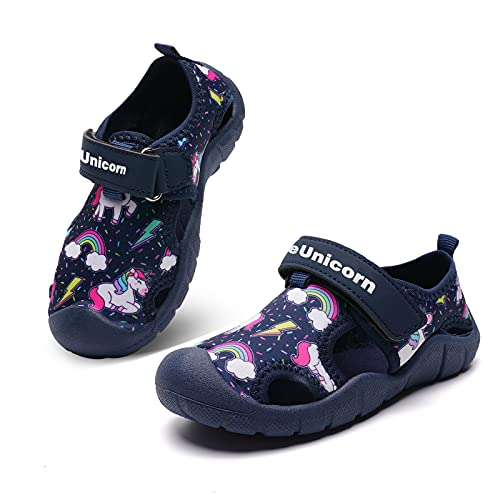 Sandalen zaalschoenen kinderen slippers sandalen klittenbandsluiting jongens meisjes badschoenen, Regenboog eenhoorn blauw, 26 EU