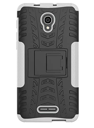Tianqin Funda Alcatel Pop 4 Plus, Ultra Delgado Anti Caída Protección Dual Layer Bumper 2 in1 Híbrida Rugged Case Antideslizante Soporte Cover para Alcatel Pop 4 Plus - Blanco