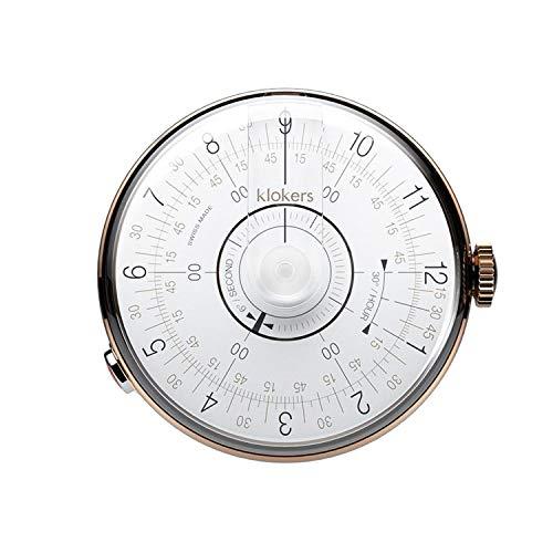 Klokers Klok 08 Reloj unisex esfera blanca con caja de acero inoxidable PVD oro rosa KLOK8.D1