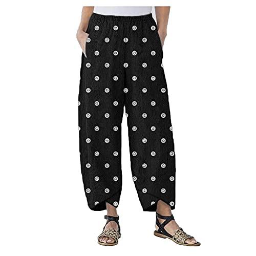 VCAOKF Pantalones de mujer sueltos con estampado de lunares, con farol abierto, talla grande, sueltos, holgados, con pequeño bordado para la playa, yoga y entrenamiento Negro L