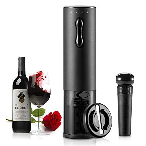 TOQIBO Elektrischer Korkenzieher,6 Sekunden Automatisch Flaschenöffner Schnurlos Weinöffner,Weinflaschenöffner Set mit Wine Folienschneider & Vakuum Stopper & geliefert USB Ladekabel(schwarz)