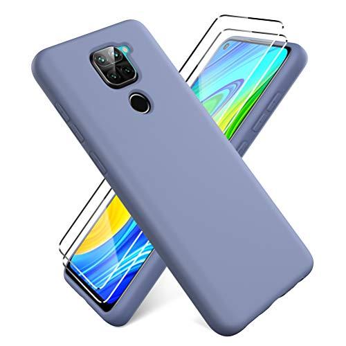 Oududianzi - Cover per Xiaomi Redmi Note 9 + [2 Pack] Pellicola Protettiva in Vetro Temperato, Custodia Liquid Silicone TPU...
