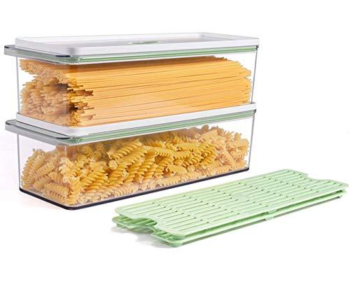 TIANGR 2-teiliges Pasta-Aufbewahrungsdosen-Set – 2,2 l Küche Spaghetti Lebensmittel Aufbewahrungsbox – Große Spaghetti-Nudelbehälter mit Deckel – BPA-frei | spülmaschinenfest