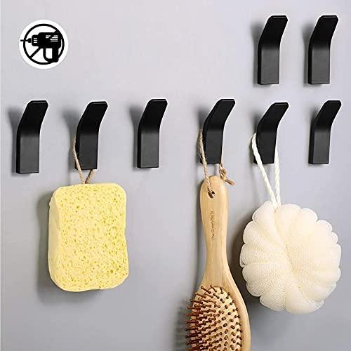 Hylulu 8 ganchos adhesivos de pared para toallas, ropa y ropa, de aluminio, sin agujeros, para baño, baño, cocina, oficina, color negro