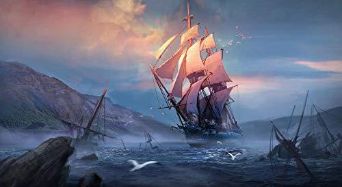 ZGNH Rompecabezas 1000 Piezas Barco mar Nube Arte Vela fantasía Madera Puzzle, niño Juguete Educativo Intelectual de Adulto descompresión,Regalo Ideal La Mejor DIY Decoración hogareña