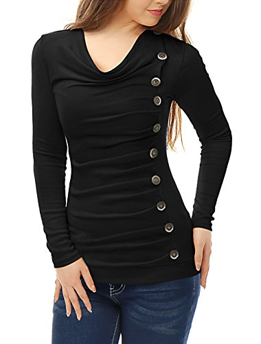 Allegra K Women's Cowl Neck Long Sleeves Buttons Decor Ruched Top M Black