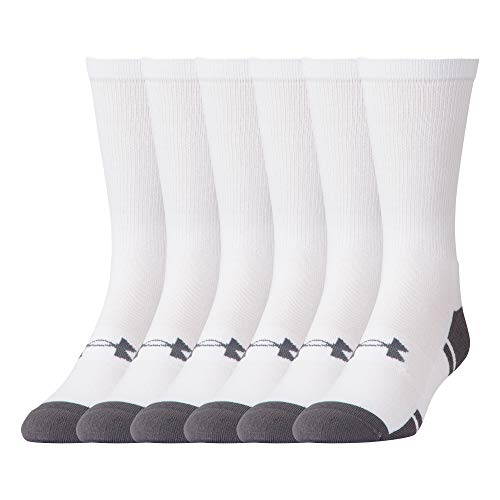 Under Armour Resistor 3.0 Crew Socks, 6-Pairs, White/Graphite, Shoe Size: Mens 4-8, Womens 6-9