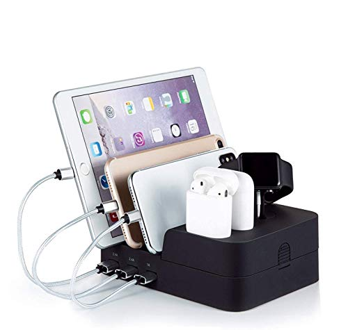 6 Port USB Charging Station,Charging Station for Multiple Devices Compatible for Airpods Apple iWatch iPhone iPad Tablets and Smart Cell Phones