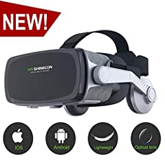 ★★LATEST VERSION--Our SHINECON VR Glasses adopts ABS+Non-woven with adjustable nylon headband, features its innovative fabric design,extremely comfortable wearing compared to other VR. PMMA optical resin lens, and 8 layers of nano coating after 5 tim...