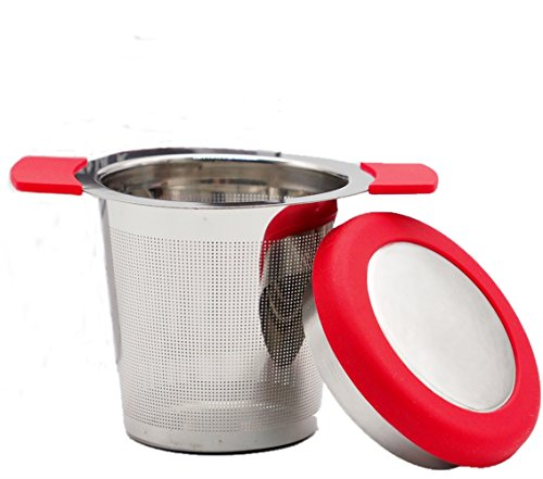 1A2B3C Extra Fine FDA Approved Stainless Steel Tea Infuser filter Mesh Strainer with Large Capacity & Perfect for Loose Leaf Tea - Silicone Covers Handles & Lid Prevent Burns, Spills (Red)