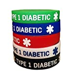 IDmed Diabetic Silicone Bracelets 7.1 inches for Teens 5 Pack (Type 1 Diabetic)