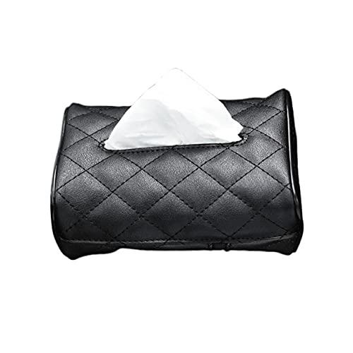EU-NING GM PU cuero de la caja de pañuelos de coche cubierta de la servilleta de la arteria paraguas toalla organizador caja coche accesorios interiores-negro